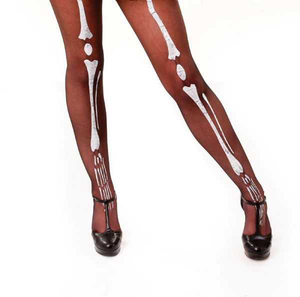 Black Tights / Bone Printing Sexy Adult Role Play Fancy Dress